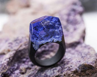 Wooden ring Twilight, GreenWood. Wooden resin ring. Wood ring. Magic ring. Resin ring. Wooden. Resin wood