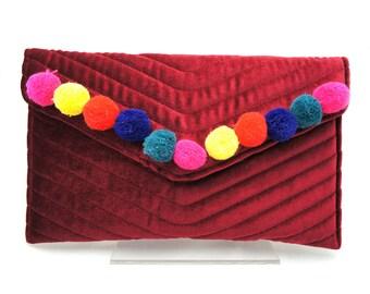 Colorful Boho Red Velvet Pom Pom Clutch Handbag