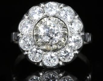 Antique Edwardian Diamond Cluster Ring 18ct White Gold 2.60ct