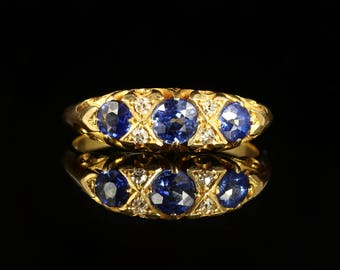Antique Edwardian Sapphire Gold Ring 18ct Circa 1905