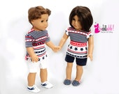 18 inch doll clothes, his/hers doll clothing made to fit like american girl doll clothes, stars & stripes tops with knit shorts