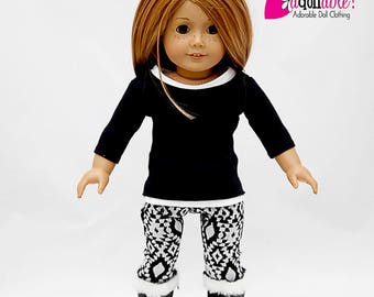 American made Girl Doll Clothes, 18 inch Doll Clothing, Black Top, White Tank, Leggings made to fit like American girl doll clothes