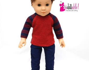 American made doll clothes, 18 inch Boy Doll Clothing, Red Rock Baseball Tee with Navy Pants, made to fit like American girl doll clothes