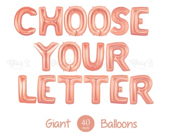 """NEW Rose Gold Letter Balloons - Giant 40"""" Inch Mylar Balloons - You Choose the Letter You Want  - Metallic Rose Gold - Authentic Megaloons"""
