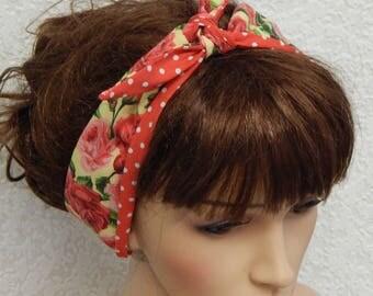 Reversible Self Tie Headband, Tie Up Head Scarf, Retro Headband, Pin Up Hair Scarf, 50's Head Wrap, Women's Summer Hair Scarf
