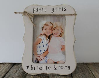 Papa's Girls Picture Frame Grandpa Picture Frame, Grandpa Gift Rustic Picture Frame Father's Day Gift Papa Gift