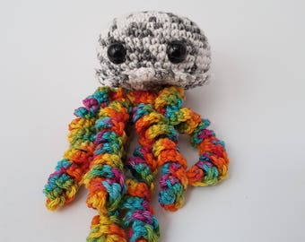 Jellyfish black and white and multicolored handmade crochet (amigurumi)