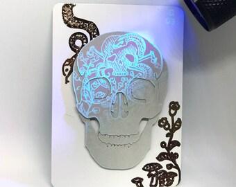 Original Inktober 'Poison' Cut Paper Skull UV Ink Artist's Trading Card