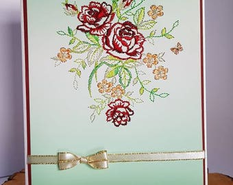 Embroidered Cards.  Red Roses for Her. Unique Wedding Anniversary Keepsake Girlfriend / Wife