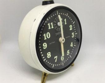 60's clock, op-art clock, Peter alarm clock, Vintage Alarm clock, German Alarm Clock, Vintage Desk Clock, Mechanical Clock, alarm clock