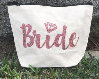 Bride Makeup Bag, Cosmetic, Wedding party favor gift, Bridesmaid, Bridal, shower, Mascara, honeymoon, travel, presents, maid of honor,