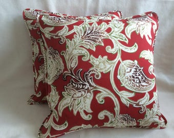 Pair of Elegant Indoor/ Outdoor Pillow Covers - Solarium Fabric - Red Floral Print - Custom Self Piping - 18x18 Covers