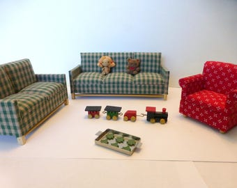 Adorable vintage doll house couches and toys