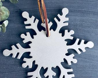 Snowflake Ornament, Christmas Tree Ornament, Metal Christmas Ornament, Metal Snowflake,  Handmade