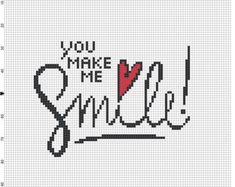 You Make Me Smile, Counted Cross Stitch Pattern, Easy beginner, Pdf instant download #34