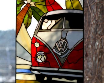 Hippie bus Stained glass panel. Stained Glass picture. Sun catcher window pendant. Surfboard. Handmade wall hanging Home Decor.