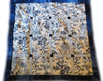 "Handmade DECORATIVE BABY QUILT ~ ""Cross-Quilt"" ~ Cotton / Velvet ~ Ecru & Navy"