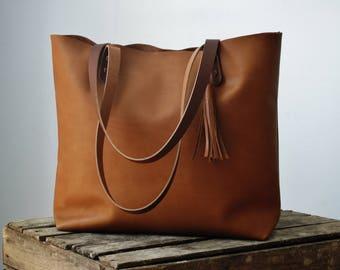 Tan leather bag, leather tote, leather tote bag, leather purse, cognac tote, shoulder bag