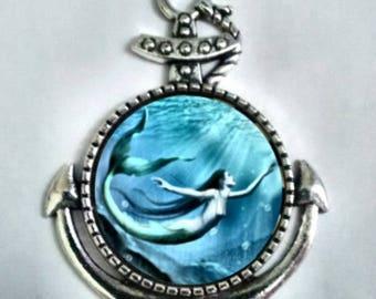 Mermaid Pendant,  Nautical Pendant, Anchor Necklace, Ocean Pendant.