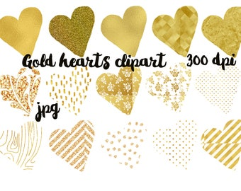 Gold hearts clipart Gold clipart Hearts clipart Gold patterns clipart Valentines clipart Hearts graphic Gold graphics Digital hearts clipart