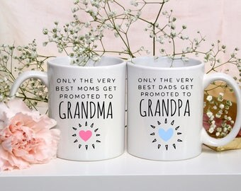 His and Hers Coffee Mugs | Grandma and Grandpa Mugs | Only the Very Best Moms/Dad Get Promoted | His and Hers | Couples Mugs | Gifts