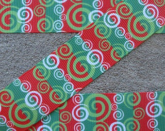"1"" Red & Green Christmas Print Collar with Side Release Buckle (D-Ring Martingale Option Available)"