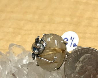 Frog Rutilated Quartz Ring, Size 8 1/2
