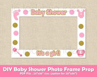 baby shower photo frame prop printable diy picture frame prop selfie station pink