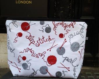 Knitting project bag // travel bag // washable //knitting vocabulary