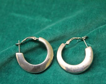 Vintage EXPRESS Brand Silver Tone Wide Chunky HOOP EARRINGS from Express store signed hoops with lever backs thick