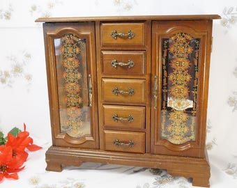 Large Jewelry Box/Wooden/Jewelry Armoire/With Draws/Doubled Door/Jewelry Box/Standing/Jewelry Storage/Wooden Jewelry Box/Wooden Armoire