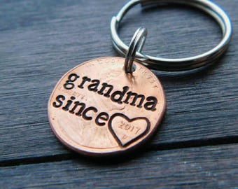 Custom Grandma Since Lucky Penny Keychain. Gigi, Mimi, Nana, Gramma, Granny,Grandma Gift, Mother's Day, Best Selling Items, Grandparent Gift