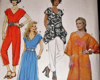 Butterick pattern, B5652, misses loose-fitting pullover top, pullover dress, caftan, jumpsuit and loose pull-on pants, sz: lrg, xlg, xxl