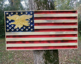 Navy Seal American Flag rustic hanging sign Fully Carved