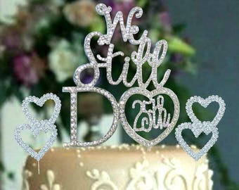 Silver crystal rhinestone cake topper 25th - 50th Anniversary Mr and Mrs wedding Vow renewal and 2 Crystal Hearts cake decoration