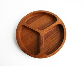 Vintage Danish Modern Solid Teak Wood Round Divided Tray