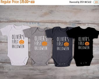 LATE SHIP SALE My First Halloween Personalized Baby Boy Outfit, My First Halloween Pumpkin Bodysuit, Halloween Baby Shower, Baby Halloween C