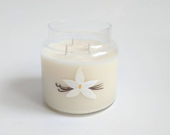 Very Vanilla Candle/ Classic Scents/ 16oz apothacary jar/ Natural Soy Wax/ Refillable/ Zero Waste/ handpainted/ Candle/ Gifts