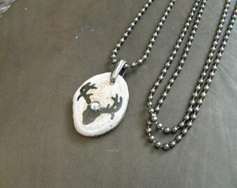Deer skull necklace, antler jewelry, antler necklace, deer antler jewely, boho jewelry, rustic jewelry, gift for deer lover, gift for hunter