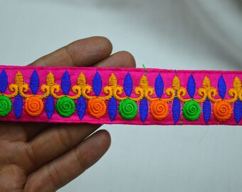 Magenta Embroidered Fabric Trim and embellishments Indian Laces Sari Border Trim By 2 Yard Sewing Craft Ribbon Trimmings Saree Trims