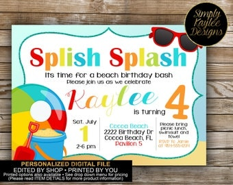 Beach Party Invitation - Pool Party Invitation - Splash Party Invitation
