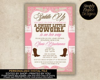 Rustic Cowgirl Baby Shower Invitation