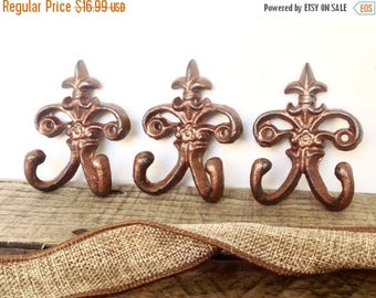 ON SALE Copper Wall Hook Set - Wall Hooks - Wall Jewelry Hanger - Key Holder - Copper Home Decor - Necklace Holder - Entryway Wall Decor - K