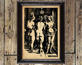 The Four Witches, Albrecht Dürer, Naked Women, Sorceresses, witches art, witches print, witches illustration, witches decor, witch gift, 235