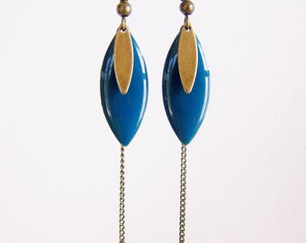 Teal sequin enameled earrings and brass chain