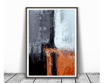 Digital print, room decor, digital image, Modern Contemporary Art, orange , black, copper and gray, Colorful wall art print,