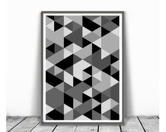 Printable Geometric Poster, Scandinavian Print, Nordic Poster, Modern Geometric Poster, Triangle Print, Black and white, Modern Wall Art