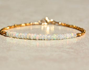 Opal Bracelet, October Birthstone Bracelet, Opal Jewelry, Gold Vermiel, Beaded Bracelet, Gemstone Bracelet, Ethiopian Opal, Gift for Her