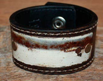 Brown Leather Cuff Bracelet, Leather Handcrafted Jewelry, Women's leather bracelet, Weathered bracelet, Large Leather band 125