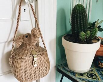 Vintage 1950's Elephant Woven Handbag | Styled by Simon | Made in British Hong Kong | Elephant Head Basket Woven Purse